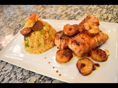 How To Cook HONEY GLAZED SALMON/SHRIMP And Cajun Fried Rice || Cooking With CHISOM HARRIET