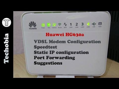 Huawei HG630a | Airtel 40 Mbps VDSL | Modem | Static IP | Port Forward | Speedtest | Configuration