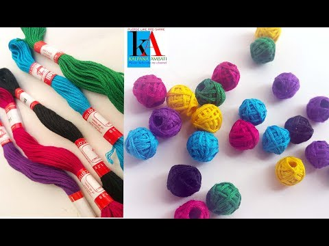 How to make Cotton Thread Beads for Necklace || Simple and easy at home