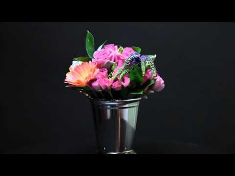 Petite lavender bouquet in a mint julip vase