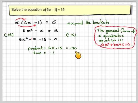 Forming and solving a quadratic by factorisation