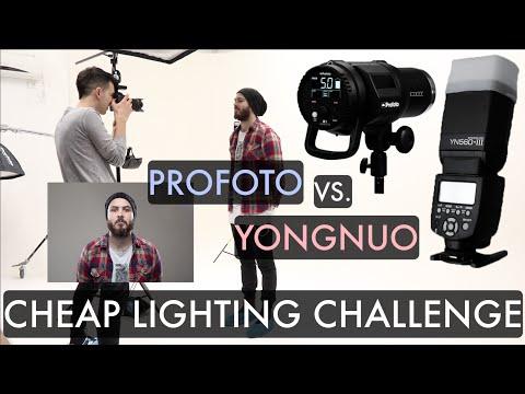 Cheap Lighting Challenge (PROFOTO vs Speedlight) Strobist Studio Photoshoot