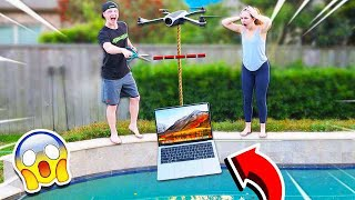 DESTROYING MY GIRLFRIENDS LAPTOP WITH A DRONE! **GONE WRONG**