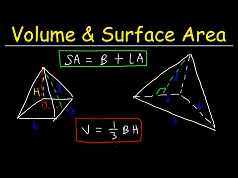 Surface Area of a Pyramid & Volume of Square Pyramids & Triangular Pyramids
