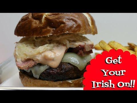 Ruben Burger ~ St  Patrick's Day Burger ~ Ft.  Lidl Pretzel Buns ~ Noreen's Kitchen
