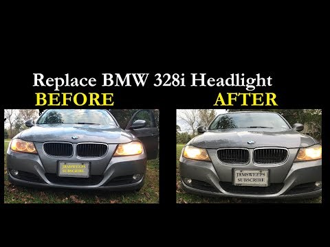 FAST - Replace BMW 328i Headlight Bulb Without Removing Tires
