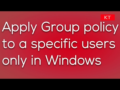 How to apply Group policy to a particular user only