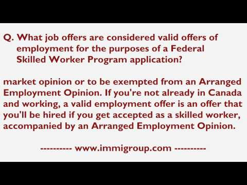 What job offers considered valid for the purposes of a Federal Skilled Worker Program application?