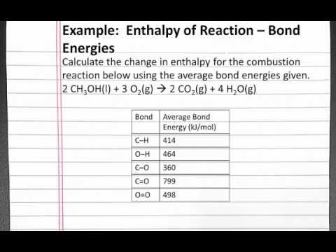 CHEMISTRY 101: Enthalpy of Reaction Bond Energies