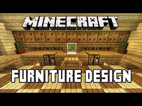 Minecraft Tutorial:  How To Build A House Part 15  (Office Furniture, Desk, Chair, Computer)