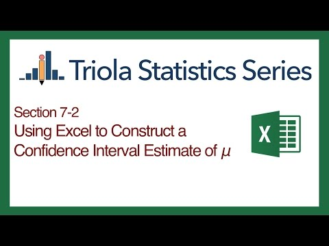 Excel Section 7-2: Using Excel to Construct a Confidence Interval of Population Mean