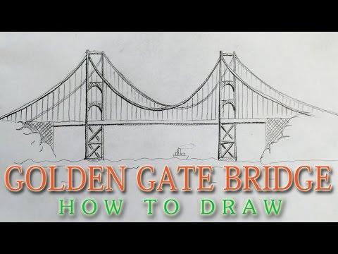 How to draw the Golden Gate Bridge EASY - San Francisco landmark
