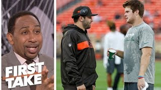 Stephen A., Max debate if Sam Darnold or Baker Mayfield is under more pressure   First Take   ESPN