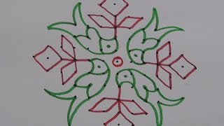 Grass Flowers Kolam Designs With 15 1straight Chukkala Muggulu