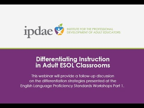 Differentiating Instruction in Adult ESOL Classrooms (Webinar)