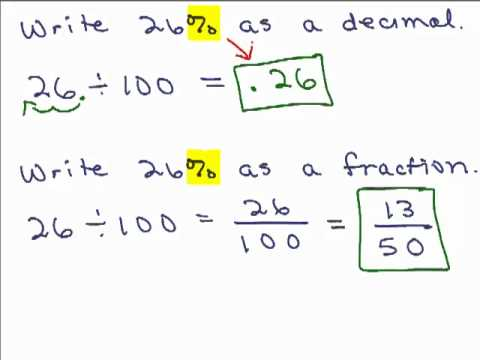 Percents Part 1 Change Percent to Fraction or Decimal