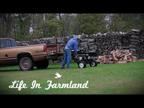 2 Minutes Of Cutting, Splitting And Stacking Some Firewood