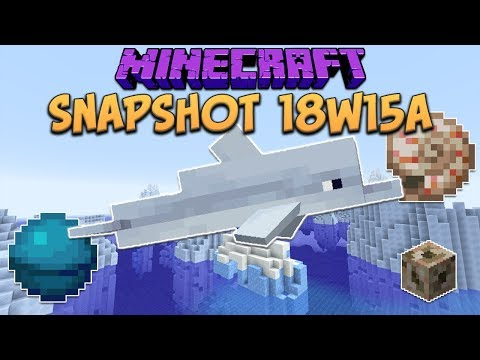 Minecraft 1.13 Snapshot 18w15a Dolphins! New Biome Water Colors! Heart Of The Sea & Nautilus Shell