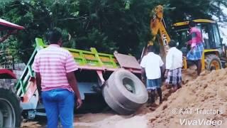 Massey Ferguson Stuck With Heavy Loaded Soil In Path Hole | Tractor Stuck
