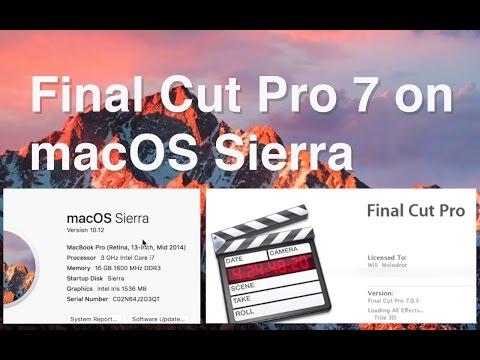 Final Cut Pro 7 running on MacOS Sierra 10.12