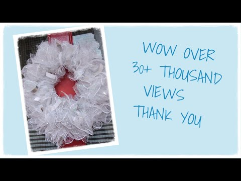 Winter White & Silver Mesh/Tulle and Ribbon Wreath DIY/Tutorial