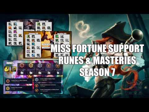 Miss Fortune Support Runes and Masteries Season 7 League of legends