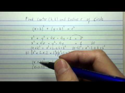 Find a center (h,k) and radius r of a circle