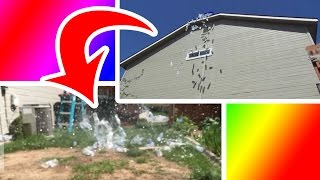 75 WATER BOTTLES OFF THE ROOF!! | 75 Subscriber Special