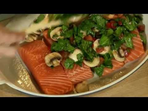 Baked Salmon Tomatoes Spinach Mushrooms