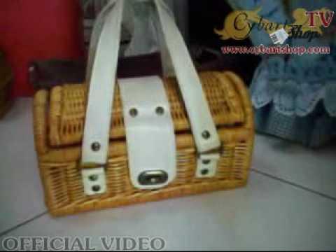 Leather Handle Rattan Bag