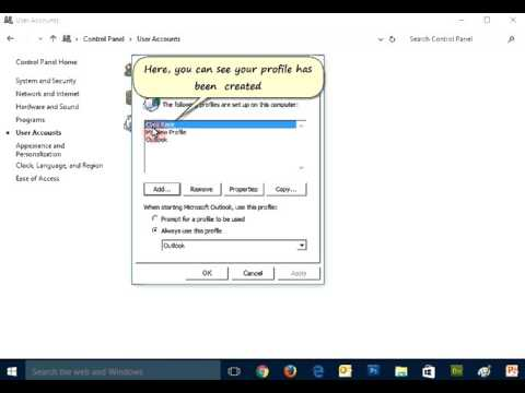 Create an Outlook Profile and Turn On or OFF Profile Prompt
