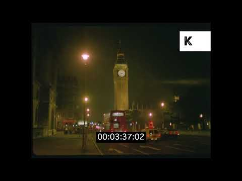 1970s London Westminster Big Ben And Houses Of Parliament At Night HD from 35mm | Kinolibrary
