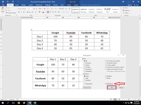 MS Word Table: How to Convert Row to Column, Column to Row