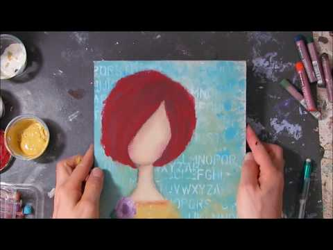 mixed media girl painting