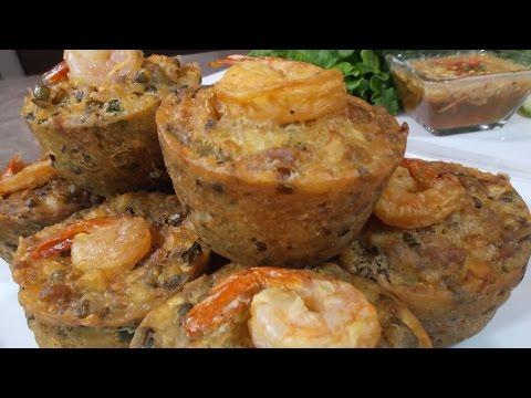 Cambodian Fried Cake with Shrimp and Mung Bean Recipe (Noum Ka Pong)