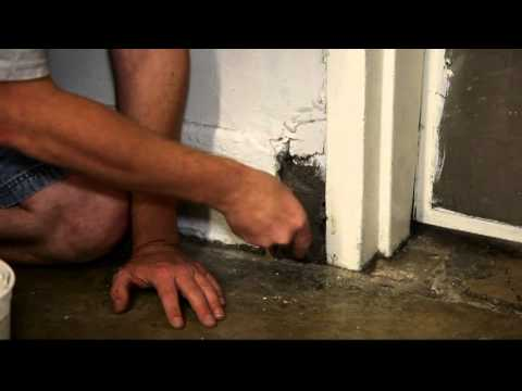Patching hole by door with steel wool