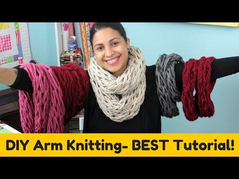 DIY Arm knitting- Infinity Scarf Cowl- BEST TUTORIAL!