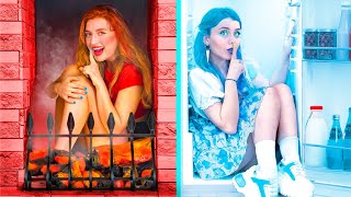 Hot vs Cold Hide and Seek Challenge / Girl on Fire vs Icy Girl
