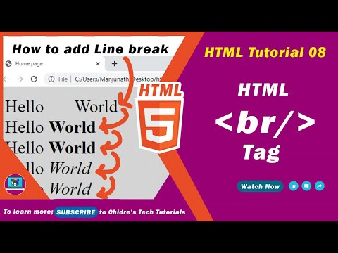 HTML video tutorial - 08 - html br tag or line break tag