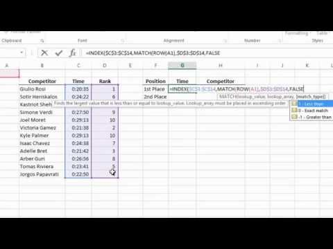 Excel  2013 Tutorial -  How to Get the Nth Largest or Smallest Value