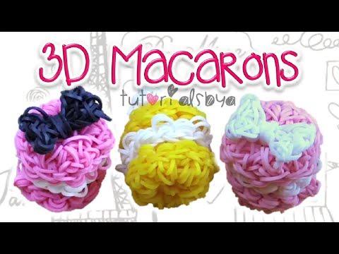 1 LOOM 3D Puffy Macaron Charm / Figurine Rainbow Loom Tutorial | How To