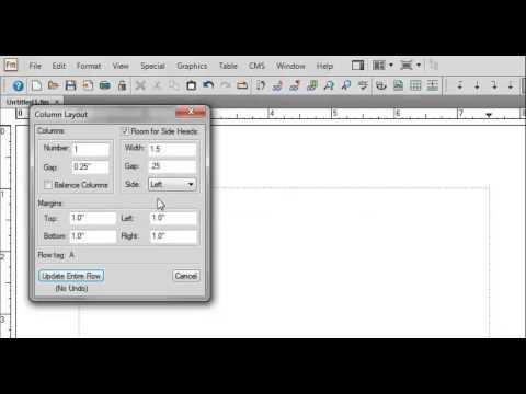 FrameMaker 12 Edit Columns, Side Heads and Margins