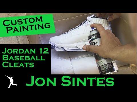 Custom Painting Jordan 12 Baseball Cleats