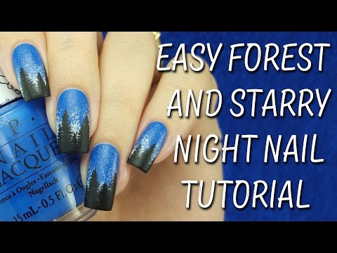 Easy Forest & Starry Night Nail Tutorial