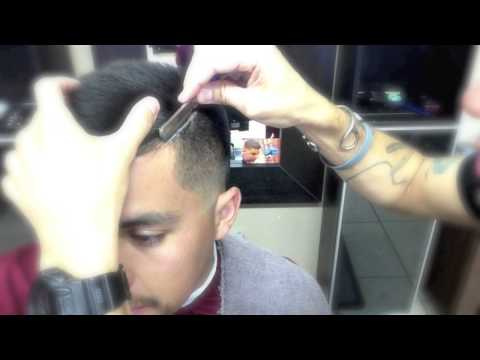 How to line up a side part with a straight razor