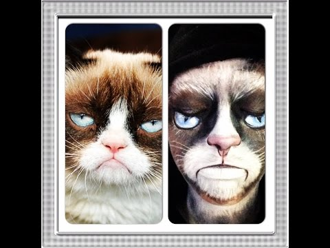 Halloween makeup idea Grumpy Cat makeup transformation!!