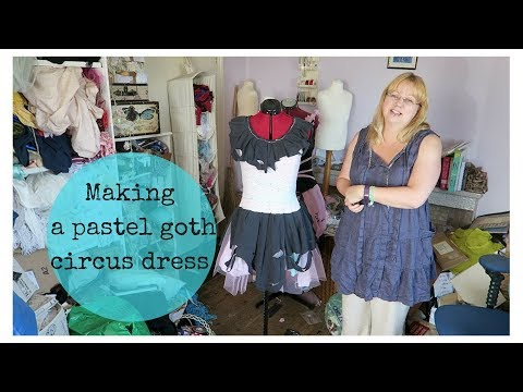 Making a pastel goth circus dress