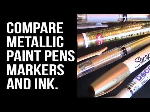 Metallic Paint Markers & Gel Pens on a Slick Surface