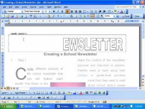 Word Tutorial - Newsletter