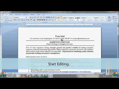 Using Microsoft Word Resume Templates - Tutorial